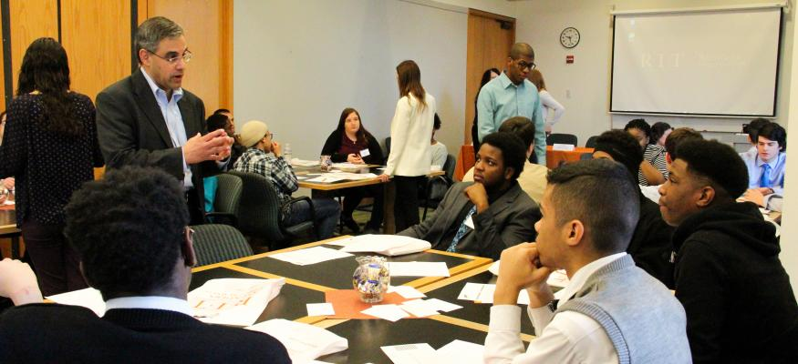 Partners from PwC engage students from area high schools during College Accounting and You