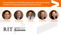 Graphic of Saunders professors who received endowed professorships