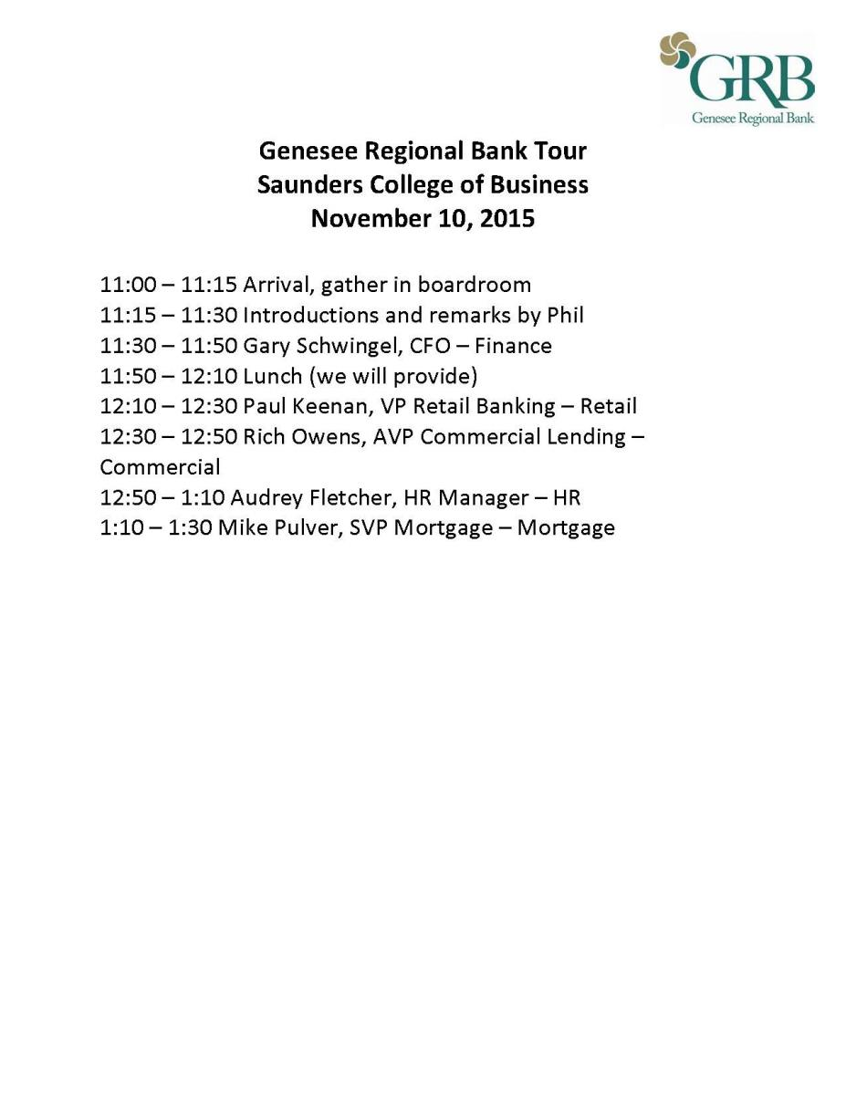 Traveling Tigers GRB Agenda
