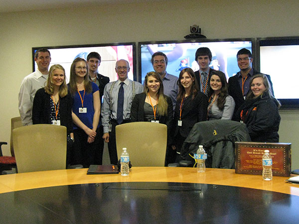 Students visit with Brad Ferrer, Executive VP of Finance and Administration at CNN Worldwide