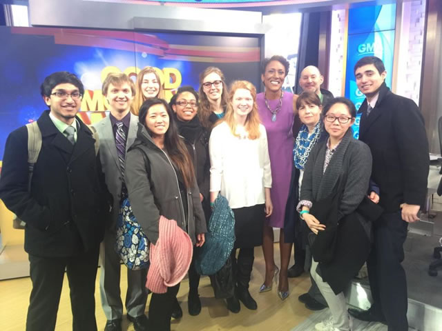 With Robin Roberts, on the set of 'Good Morning America'