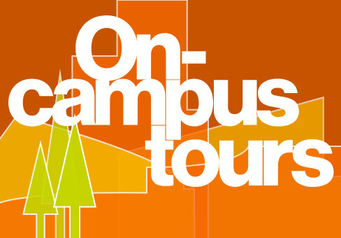 Stylized text that reads: 'On-campus tours.'